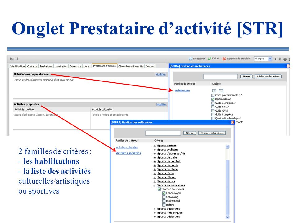 Onglet Prestataire d'activité [STR]